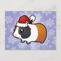 Christmas Guinea Pig (smooth hair) Holiday Postcard
