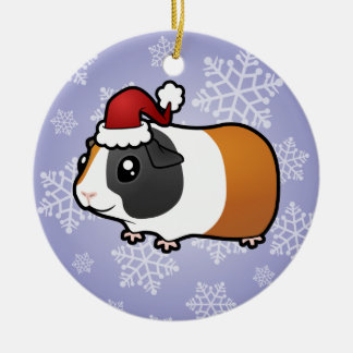 Christmas Guinea Pig (smooth hair) Double-Sided Ceramic Round Christmas Ornament