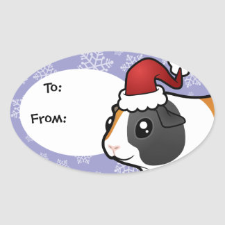 Christmas Guinea Pig (smooth hair) Oval Sticker