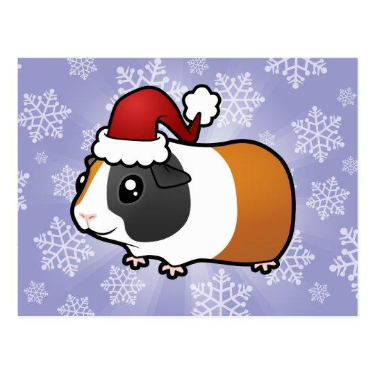 Christmas Guinea Pig (smooth hair) Postcard