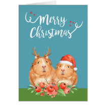 Christmas Guinea Pigs Santa and Reindeer Wreath Card