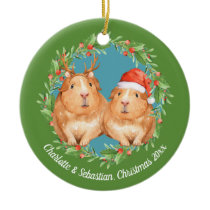 Christmas Guinea Pigs Santa and Reindeer Wreath Ceramic Ornament