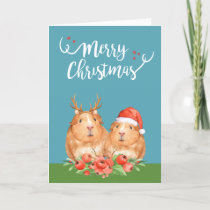 Christmas Guinea Pigs Santa and Reindeer Wreath Holiday Card