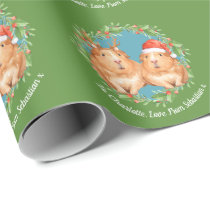 Christmas Guinea Pigs Santa and Reindeer Wreath Wrapping Paper