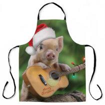 Christmas guitar pig apron
