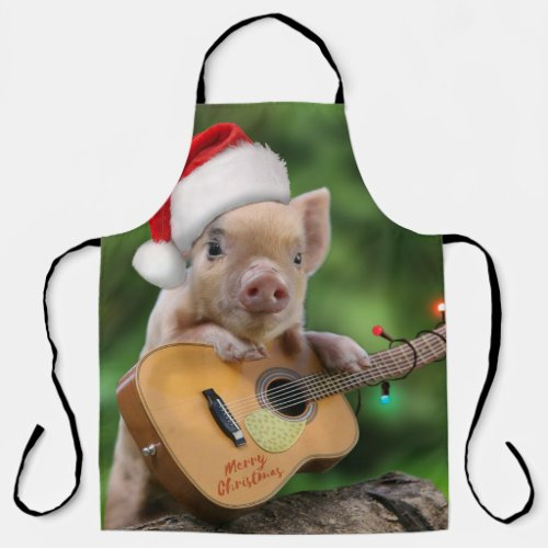 Merry Christmas Guitar Player Pig All-Over Print Apron