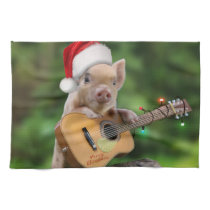Christmas guitar pig kitchen towel