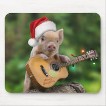 Christmas guitar pig mouse pad
