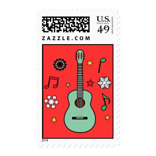Christmas Guitar Stamp