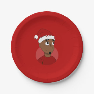 Christmas guy cartoon 7 inch paper plate