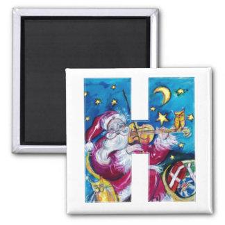 CHRISTMAS H LETTER / INSPIRED SANTA MONOGRAM 2 INCH SQUARE MAGNET