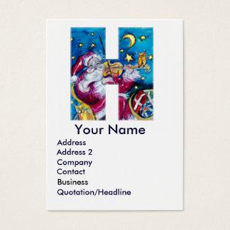 CHRISTMAS H LETTER / INSPIRED SANTA MONOGRAM BUSINESS CARD