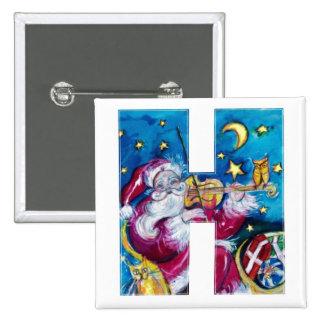 CHRISTMAS H LETTER / INSPIRED SANTA MONOGRAM 2 INCH SQUARE BUTTON