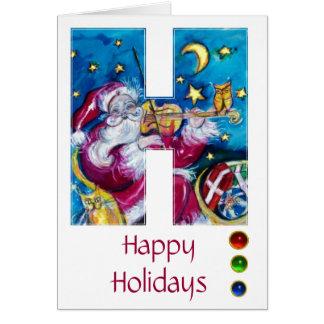 CHRISTMAS H LETTER INSPIRED SANTA MONOGRAM GREETING CARDS