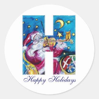 CHRISTMAS H LETTER / INSPIRED SANTA MONOGRAM CLASSIC ROUND STICKER