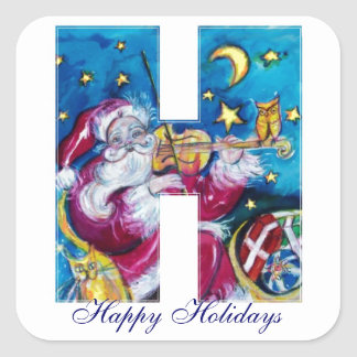 CHRISTMAS H LETTER / INSPIRED SANTA MONOGRAM SQUARE STICKER