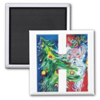 CHRISTMAS H LETTER / SANTA WITH CHRISTMAS TREE 2 INCH SQUARE MAGNET