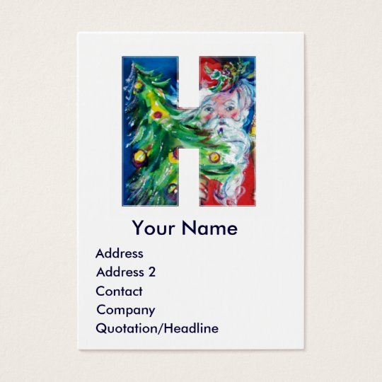 CHRISTMAS H LETTER / SANTA WITH CHRISTMAS TREE BUSINESS CARD
