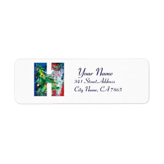 CHRISTMAS H LETTER / SANTA WITH CHRISTMAS TREE LABEL