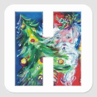 CHRISTMAS H LETTER / SANTA WITH CHRISTMAS TREE SQUARE STICKER
