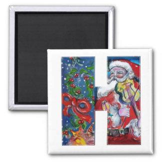CHRISTMAS H LETTER / SANTA  WITH VIOLIN MONOGRAM 2 INCH SQUARE MAGNET