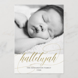 Christmas Hallelujah.Christmas Hallelujah Faux Gold With Photo Holiday Card