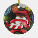 Christmas Hamster - Hammie Holiday Double-Sided Ceramic Round Christmas Ornament