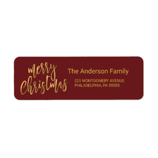 Christmas Hand-Lettered Faux Gold Foil Typography Label