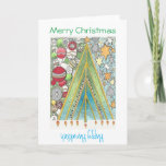 "Christmas / Hanukkah card (Christmas up)<br><div class=""desc"">Wish friends and family a happy Hanukristmas and Christmukkah with this hand-drawn card celebrating both holidays.</div>"