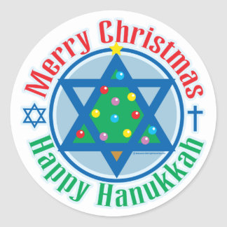 Christmas-Hanukkah Classic Round Sticker