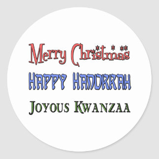 Christmas - Hanukkah - Kwanzaa Classic Round Sticker