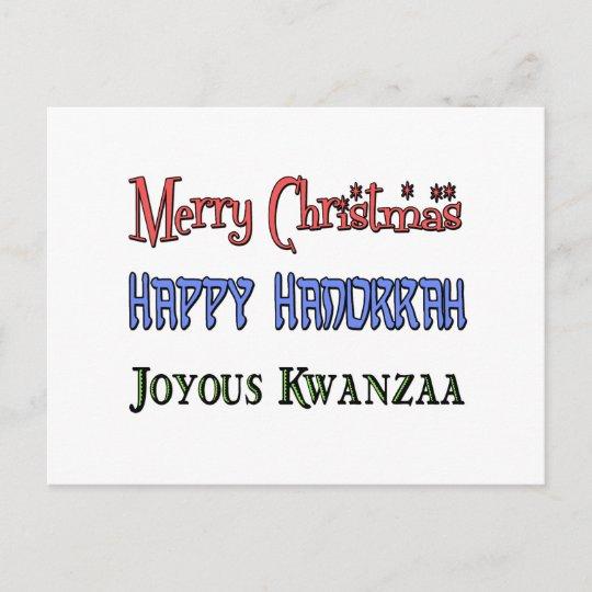 Christmas Hanukkah Kwanzaa And Other Holidays.Christmas Hanukkah Kwanzaa Holiday Postcard