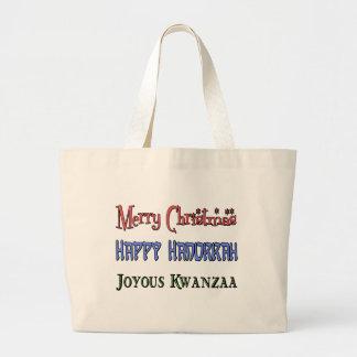 Christmas - Hanukkah - Kwanzaa Large Tote Bag