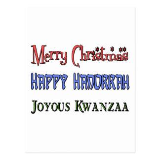 Christmas - Hanukkah - Kwanzaa Postcards