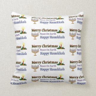 Christmas Hanukkah Throw Pillow