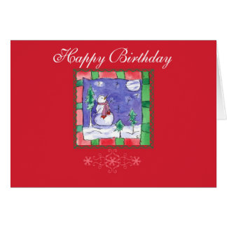 Christmas Happy Birthday Snowman Art Greeting Card