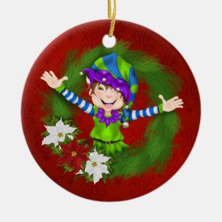 Christmas Happy Elf - SRF Double-Sided Ceramic Round Christmas Ornament