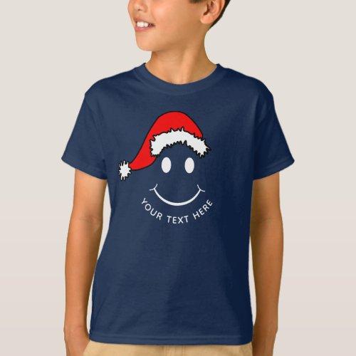 Christmas Happy Face Add Text Dark T_Shirt
