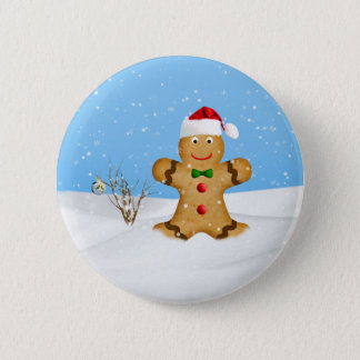 Christmas, Happy Gingerbread Man in Snow Button