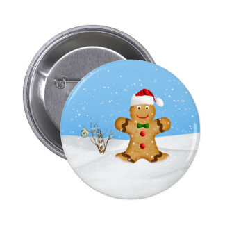 Christmas Happy Gingerbread Man in Snow Pinback Button