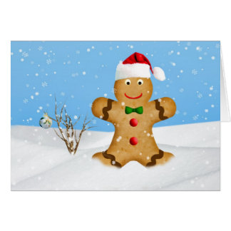 Christmas, Happy Gingerbread Man in Snow Greeting Cards
