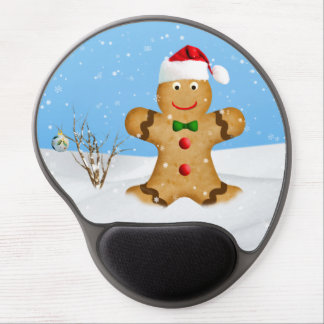 Christmas, Happy Gingerbread Man in Snow Gel Mouse Pad