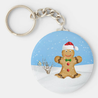Christmas, Happy Gingerbread Man in Snow Keychain