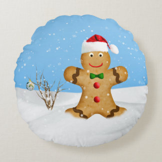 Christmas, Happy Gingerbread Man in Snow Round Pillow