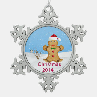 Christmas, Happy Gingerbread Man in Snow Ornament