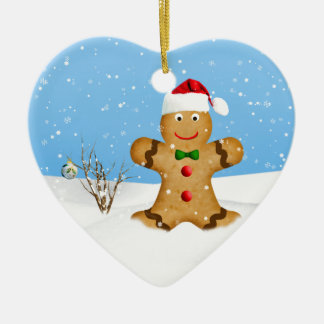 Christmas, Happy Gingerbread Man in Snow Christmas Ornaments