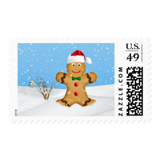 Christmas, Happy Gingerbread Man in Snow Postage Stamps