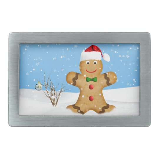 Christmas, Happy Gingerbread Man in Snow Rectangular Belt Buckle