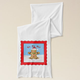 Christmas, Happy Gingerbread Man in Snow Scarf