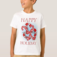 CHRISTMAS HAPPY HOLIDAY CANDY CANES TEE SHIRT